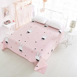 HIGOGOGO Home Home Textiles Cotton 4-Piece Bed Sheet Set Pink Cute Rabbit Print Fitted Sheet Full Size(Full)