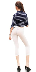 LinvMe Women's Sexy See Through Cropped Leggings Tight Pants M White