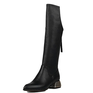 Nine Seven Genuine Leather Women's Pointed Toe Exquisite Heel Zip Knee High Handmade Boot (8, black)