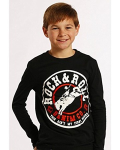 Rock & Roll Cowboy Boys' And Rodeo Long Sleeve Black Large