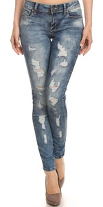 Women's Jeans Mid Rise 5 Pocket Skinny Destroyed Ripped Distressed Stretch Denim Pants with Cat Scratches