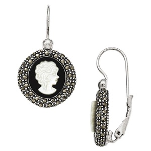 .925 Sterling Silver 33 MM Marcasite Cameo Lever Back Earrings