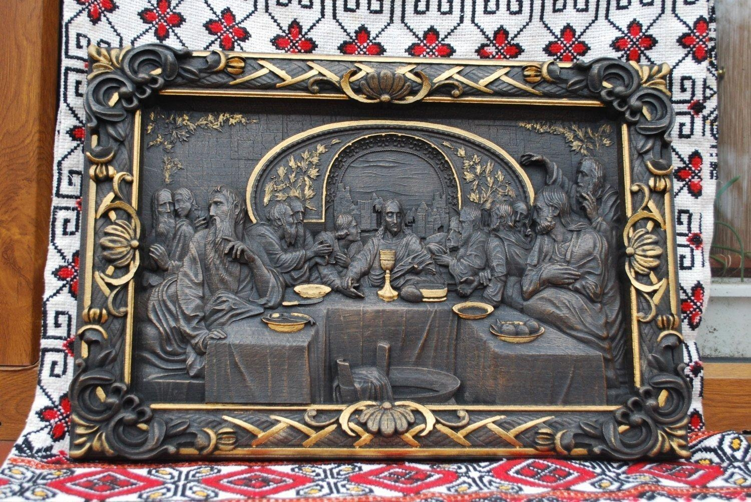Dark Last Supper Durable Unique christian gift Wood Carved religious wall art FREE ENGRAVING FREE SHIPPING