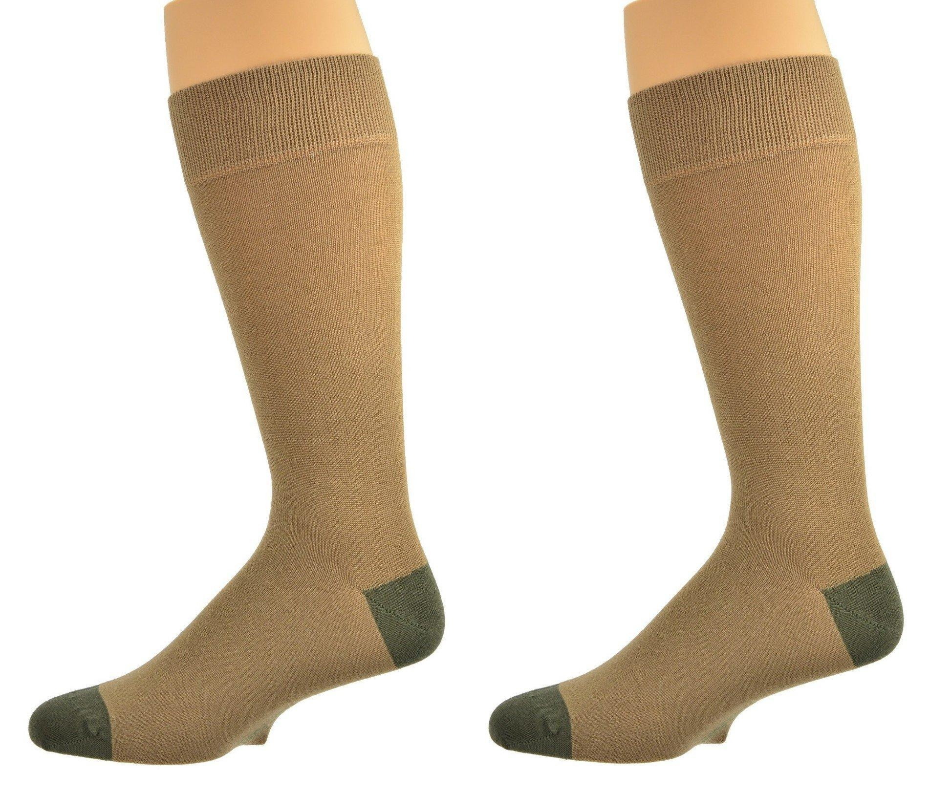 Sierra Socks Men's Contrast Heel & Toe Rayon From Bamboo (10-13, Tan 2 Pair)