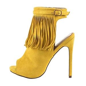 MERUMOTE Women's Messmmno Peep Toe Slingback High Heels Ankle Boots Yellow 12 US