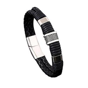 Bracelets,UPLOTER Genuine leather Bracelet Men Stainless Steel Leather Hand Woven Bracelet (Black)