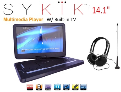 Sykik SYDVD9113 TV 14.1'' Inch All multi region zone free HD swivel portable dvd player With Digital TV Atsc Tuner,USB,SD card slot with headphones, adaptor, car adaptor Remote control