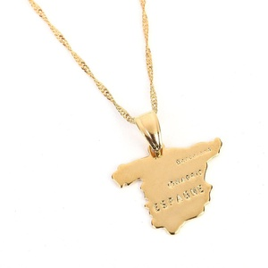Spain Map Pendant Necklace Women 24K Gold Plated ESPAGNE Country Spanish Jewelry