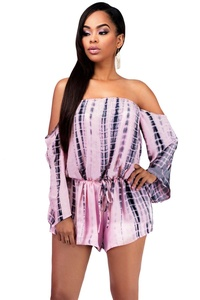 O&W Women Pink Off-the-shoulder Long Sleeves Tie Dye Drawstring Playsuit