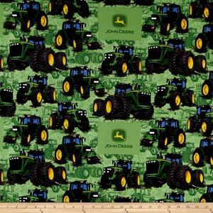 John Deere Tractor Flip Green Fabric By The Yard