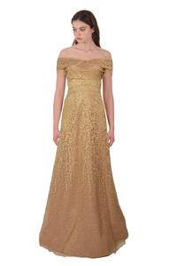 Rene Ruiz Shimmering Lace Jacquard Short Sleeve Off Shoulder Evening Ball Gown Dress
