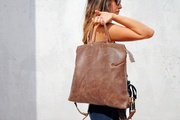 Brown leather backpack, leather backpack, handbag backpack, leather handbag, brown leather bag, women leather bag, women backpack, for her