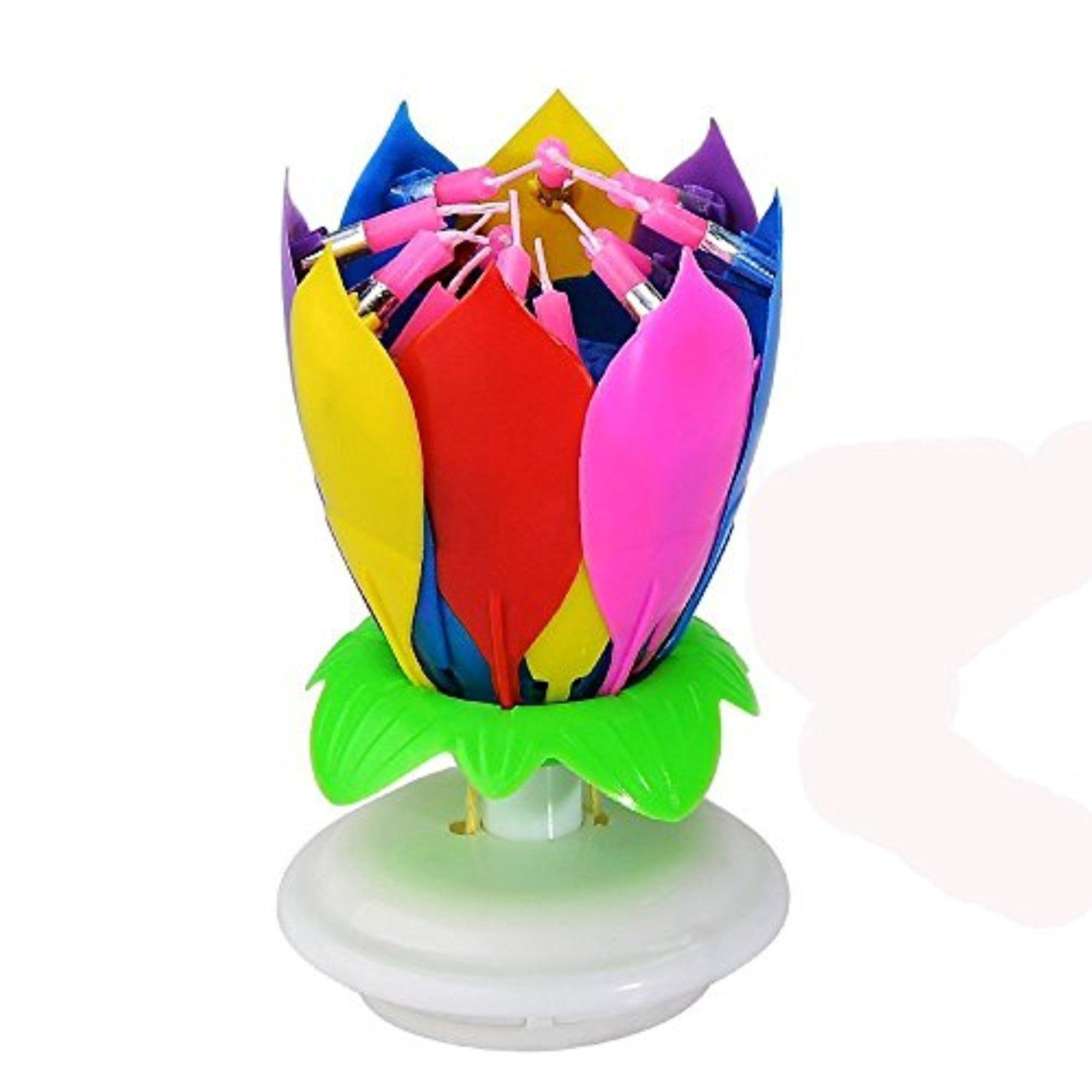 Online Store Music Birthday Candle With 14 Little Candles And Spins Rainbow
