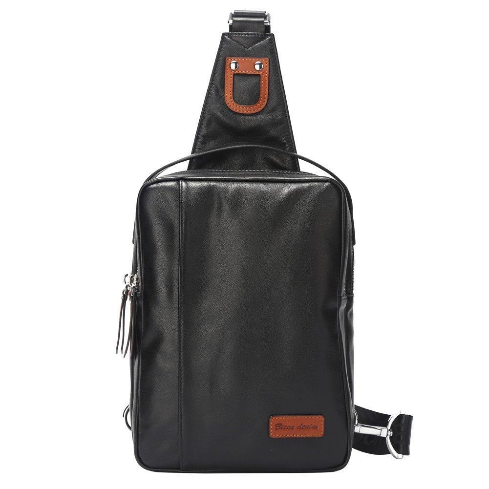 Bison Denim Men's Sling Bag Chest Shoulder Backpack Sack Satchel Outdoor Bike (Black)