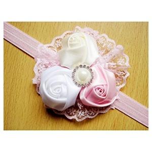Baby GirlsToddler Lace Rose Flower Headwear Headband Hair Band Hair Accessories Main Colour:#12