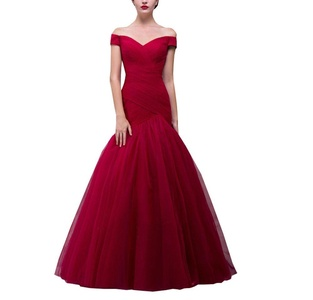 DreamMade Women's Tulle Off Shoulder Mermaid Full Long Evening Dresses Bride Gowns