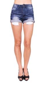 Machine Jeans Women Folded Shorts Jeans with Whisker Detail S Dark Denim
