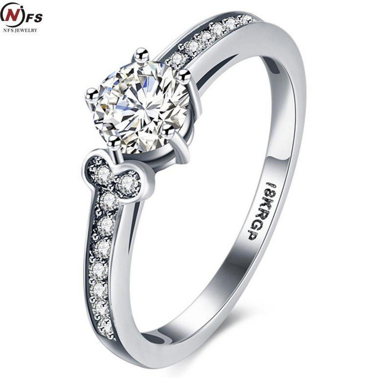 Cherryn Jewelry 0.2CT Zircon Crystal Fashion Platinum Plated CZ Jewelry Wedding Ring white Gold Plated Charming Women