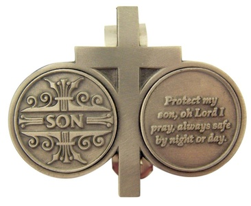 Pewter Cross with Son Protection Prayer Token Visor Clip, 2 3/4 Inch