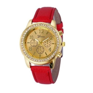 Women Wrist Watch - GENEVA Women Leather Band Stainless Steel Quartz Analog Wrist Watch, Red