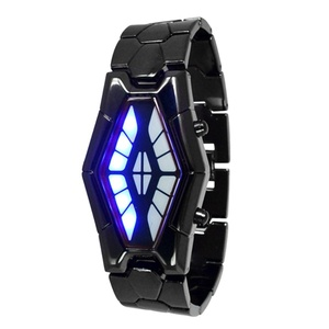 Luxury Men's Snake Dial Red Blue LED Tungsten Steel Strap Wrist Watch - Black