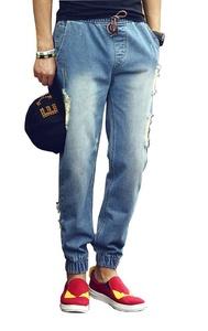 AooToo Mens Ripped Drawstring Denim Jopper Pants(Light Blue, 34)