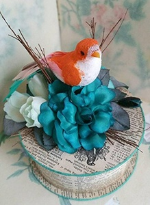 Handmade Antique Dictionary Paper Gift Box with Orange Bird, Vintage Millinery Blue Roses and Magnolia