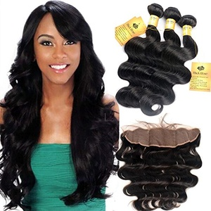 Black Rose 7A Virgin Body Wave Hair Peruvian Hair 3 Bundles With Lace Frontal Closure(13x4) Natural Color Tangle Free Human Hair Extensions Mixed Length (12