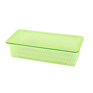 uxcell Plastic Household Kitchen Tableware Dish Plate Bowl Storage Box Case Container Green