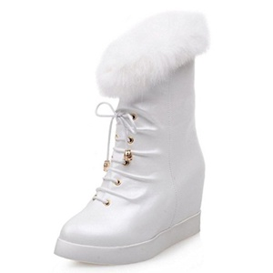 TAOFFEN Women Ankle Boots Round Toe Platform Wedge Heel Winterboots Fashion Shoes (9 B(M) US, White)