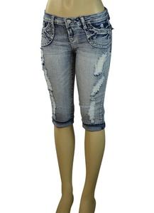 Alfa Global Junior's Low Rise Skinny Denim Capri Pants (5, Blue5710)