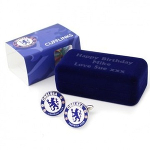 Chelsea FC Cufflinks in Gift Box - Personalise the box with a message by White Wedding and Party