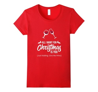 Women's FUNNY ALL I WANT FOR CHRISTMAS IS YOU T-SHIRT Xmas Wine Gift Small Red