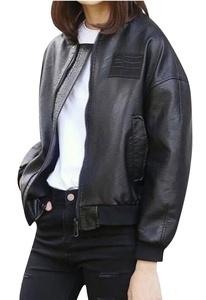TRENDY XU Women Cool PU Leather Jacket Baseball Coat Zipper Punk Rock Jacket