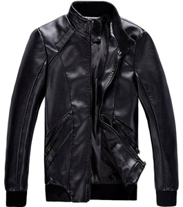 XTX Men's Casual Stand Collar Full-Zip Faux Leather Jackets coat Black US XXXL