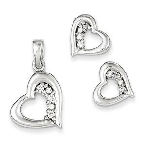 Sterling Silver CZ Heart Earring & Pendant Set