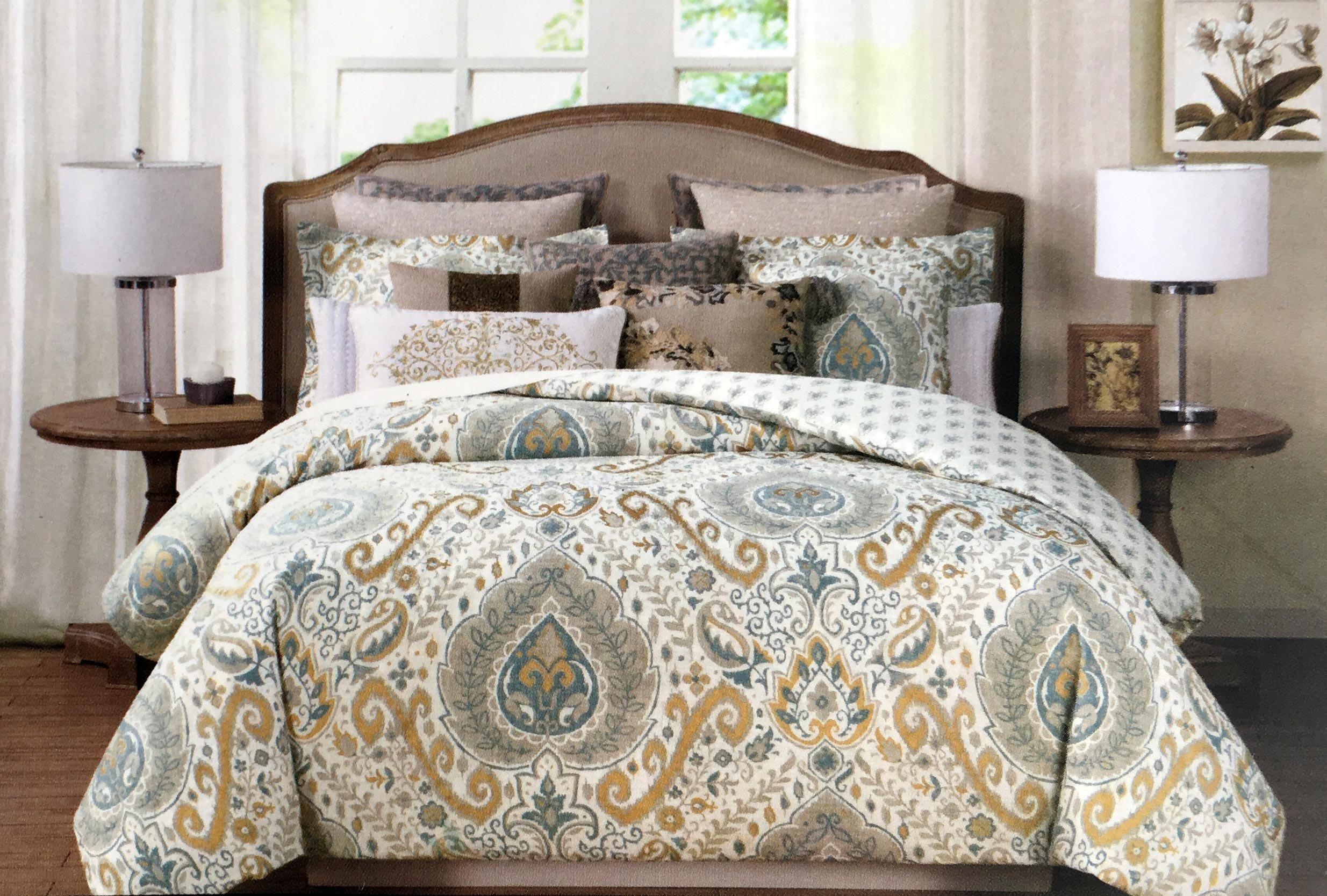 online store tahari bedding 3 piece full queen duvet cover set blue medallion pattern in. Black Bedroom Furniture Sets. Home Design Ideas