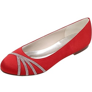 LOSLANDIFEN Women's Elegant Pointed Toe Satin Flats Punctuated With Rhinestones Party Court Shoes(9872-18Silk40,Red)