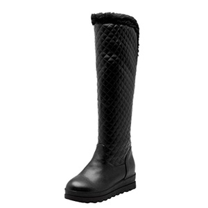 Show Shine Women's Chic Platform Hidden Heel Tall Snow Boots (5, black)