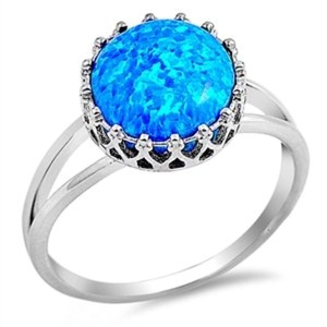 Womens Engagement Lab Created Blue Opal Promise Engagement Ring Wedding Bands Sterling Silver Size 5