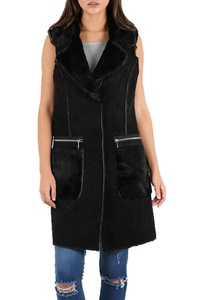 Womens Ladies Faux Fur Suede Sleeveless Zip Pockets Buttons Baggy Coat Jacket