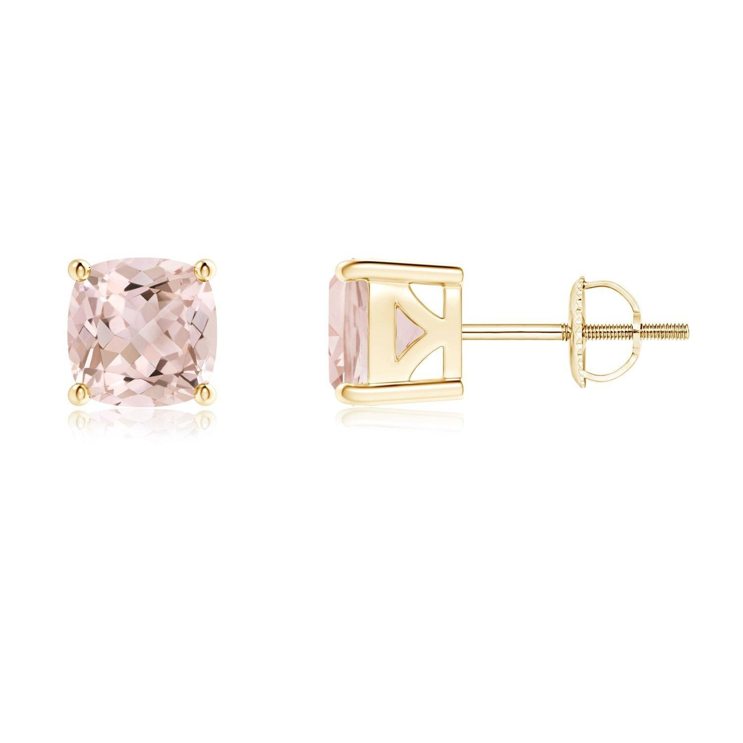 Classic Cushion Cut Morganite Stud Earrings With 4 Prong Basket Setting In 14k Yellow Gold 5mm Morganite