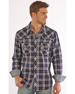 Rock & Roll Cowboy Men's And Herringbone Brushed Plaid Western Snap Shirt Plaid Small