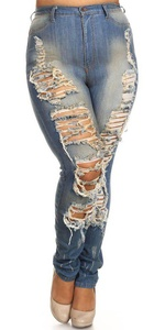 Women's Plus Size Jeans Vintage High Rise Destroyed Ripped Distressed Stretch Skinny Denim Pants with Hand Sanding