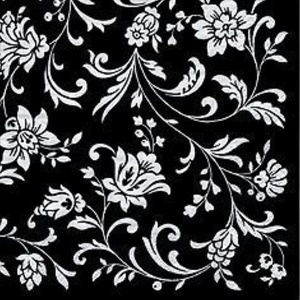 Arabesque/Damask Black with White Print Party Lunch Napkins x 20 by Napkins - Patterned