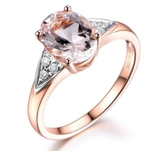 Pink Morganite Engagement Ring,7x9mm Oval Cut Stone,Solid 14K Rose Gold Band,Wedding Diamond Ring