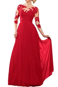 Winnie Bride Women's Long Sleeves Mother of the Bride Dress with Lace Appliques-22W-Red