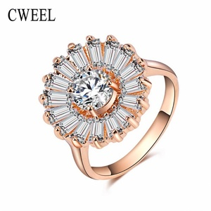 Slyq Jewelry New Fashion Brand Jewelry Engagement Ring Platinum Plated CZ Summer Style Bridal Wedding Crystal Accessories