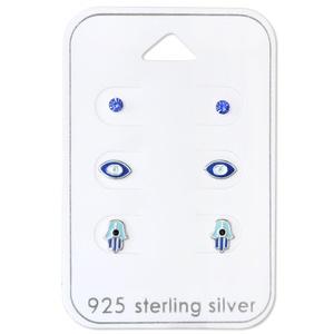 925 Sterling Silver Hypoallergenic (SET OF 3) Blue Crystal, Eye, Hamsa Stud Earrings for Girls or Women 30767