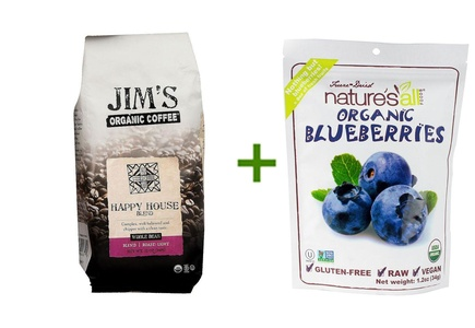 Jim's Organic Coffee Whole Bean Happy House Blend -- 12 oz, (2 PACK), Nature's All Foods Organic Freeze-Dried Raw Blueberries -- 1.2 oz